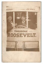 Rppc Two Men In Theodore Roosevelt Caboose Studio Real Photo Postcard 6o10