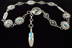 Sterling Silver And Natural Turquoise Link Concho Belt By Lorenzo Tafoya