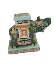 Elephant Vintage Ceramic Bookend Figurine Small Plant Stand Green Signed
