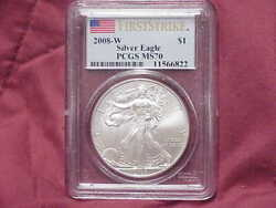2008-w Burnished Silver Eagle Pcgs Ms70 First Strike