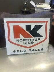 Vintage Metal Double Sided Flange Northrup King Seeds Seed Corn Sign Advertising