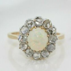 Antique/vintage 18ct Yellow Gold Opal And Diamond Cluster Ring Size L 1/2