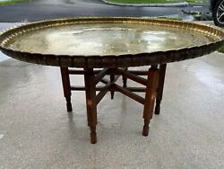 Huge 37andrdquo Antique Islamic Artistic Brass Tray Coffee Table On Folding Wooden Base