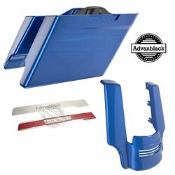 Superior Blue Dual Cutout Stretched Extended Saddlebag Pinstripes For Harley 14+