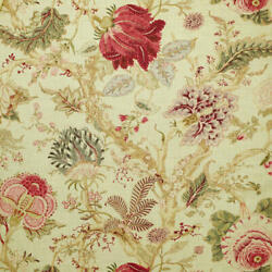 Clarence House Arbre Devie Floral Linen Blend Print Fabric 10 Yards Red Blue