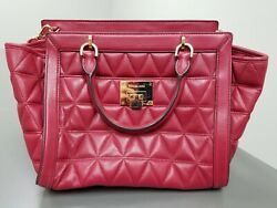 Michael Kors Quilted Leather Handbag Cherry $69.99