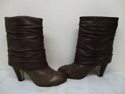 Seychelles Brown Leather High Heel Mid Calf Boots Womens Size 6