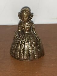 Miniature Vintage English Lady Queen Figural Brass Dinner Table Bell England