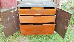 Rare Wooden Travel Trunk With 2 Doors And 3 Dovetailed Drawers