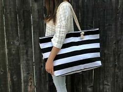 Extra Large Canvas Tote Bag Beach Bag Travel Picnic Gym Black and White Stripes $22.80