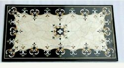 24 X 48 Inch Marble Dinning Table Top Black Patio Table With Beautiful Inlay Art