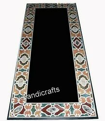 24 X 60 Inch Marble Office Table Top Black Sofa Table With Inlay Art At Border