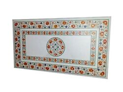 Carnelian Gemstones Inlaid Marble Table Top Office Meeting Table 24 X 48 Inches