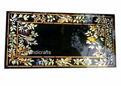 30 X 60 Inches Marble Conference Table Top Inlay Reception Table With Floral Art