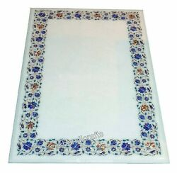 30 X 48 Inches Office Table Marble Dinning Table Top With Lapis Lazuli Stones