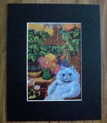 Cats Print Louis Wain Conservatory Chair Flowers Bookplate 1983 8x10 Matted
