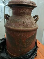 Antique - Dairy Metal Milk Can Container Large - Country Decor -orig Paint