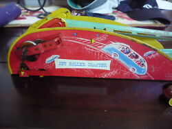 Vintage 1940s Wolverine Jet Roller Coaster Lithograph Tin Windup Toy And Car Works