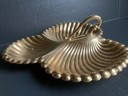 Valerio Albarello 24k Gep Gold Plated Serving Tray Vintage Triple Shell
