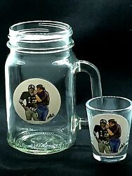Oakland Raiders Kenny Stabler/john Madden Shot Glass And Mug Collection-toast R4l
