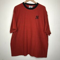 Vintage Lee Sport New York Yankees Embroidered Shirt 90s 2xl Striped Baseball