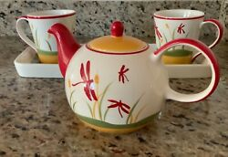 Huesnbrews New Ceramic 2 Coffee Cups And Tea Pot Set With Matching Ceramic Tray
