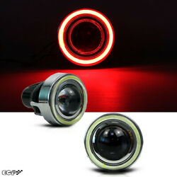 Hid Xenon Led 3.15 Projector Fog Light Lamps W/devil Red Halo Angel Eyes Rings