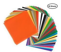 55 Adhesive Vinyl Sheets-12x12 Inch 37-colors, Cricut Silhouette Cameo Machines