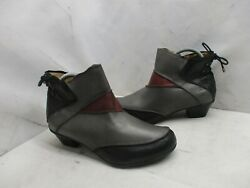 Aetrex Black Gray Burgundy Leather Zip Ankle Boots Womens Size 8 W