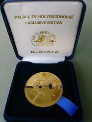 Tower Mint Abby And Holyrood House  Medallion 22 Ct Gold Plated