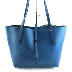Nwt Coach Printed Leather Market Tote Large Blue 58850 Retail 350