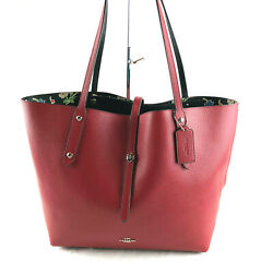 Nwt Coach Printed Leather Market Tote Large Red 55528 Retail 375
