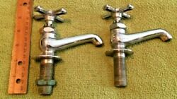 2 Antique Calco Stainless Steel Faucets Bathroom Primitive Decor Salvage