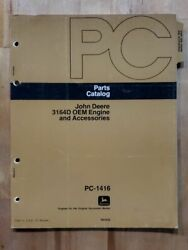 John Deere Parts Catalog Manual Pc - 1416 3164d Oem Engine And Accessories