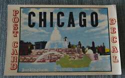 Original Vintage Travel Decal Chicago Buckingham Water Fountain Post Card Old Rv