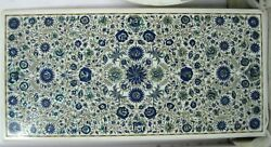 24 X 48 Inch Marble Coffee Table Top Inlay Office Table With Lapis Lazuli Stone