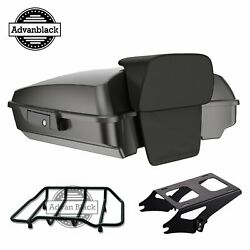 Advanblack Silver Flux Razor Tour Pack Trunk Luggage For Harley Touring 97-2020