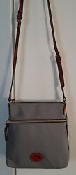 Dooney and Bourke Crossbody Canvas Charcoal North South Zip Top Drop Strap Bag $129.99