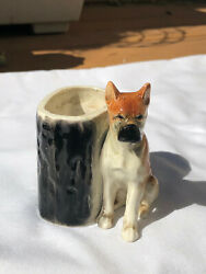 Boxer Dog Ceramic Planter Detailed Painting Japan