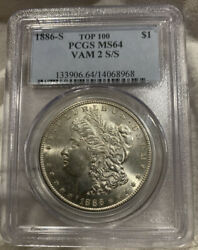 1886 S Morgan Silver Dollar Pcgs Ms 64 Top 100 Vam 2 S/s Repunched Mint Mark Rpm