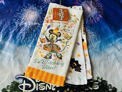 Disney Parks 2020 Halloween Dish Towel Set Minnie Mouse Witch Nwt