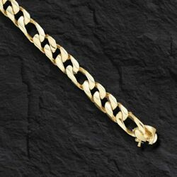 10k Solid Yellow Gold Handmade Figaro Curb Link Chain/bracelet 8.5 36 Grms 8 Mm
