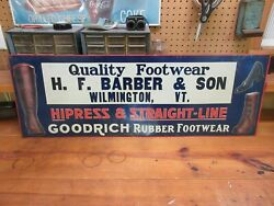 Scarce Goodrich Rubber Footwear Embossed Tin Sign Wilmington Vt. 40 X 14