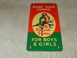 Vintage Poll Parrot Shoes Polly For Boys And Girls 7 Porcelain Metal Gas Oil Sign