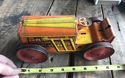 Vintage Rare Marx Toys Friction Wind Up Lithograph Tin Tractor Orange Yellow 8