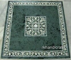 Green Marble Coffee Table Top Pietra Dura Art Office Table Multi Use Furniture