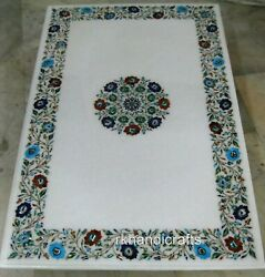 Marble Table Top Semi Precious Stones Inlaid Dinning Table With Intricate Work