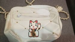Vintage White Quilted Faux Leather Purse With Lucky Cat Applique