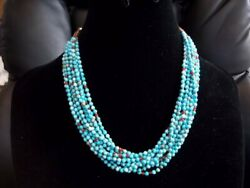 Janice Tenorio 10 Strand Sterling And Hand Rolled Turquoise Bead Necklace.