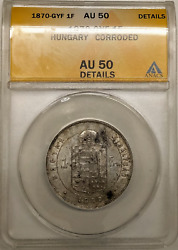 1870 Gyf 1 Forint Hungary Anacs Au50 Details Corroded Rare Silver Coin